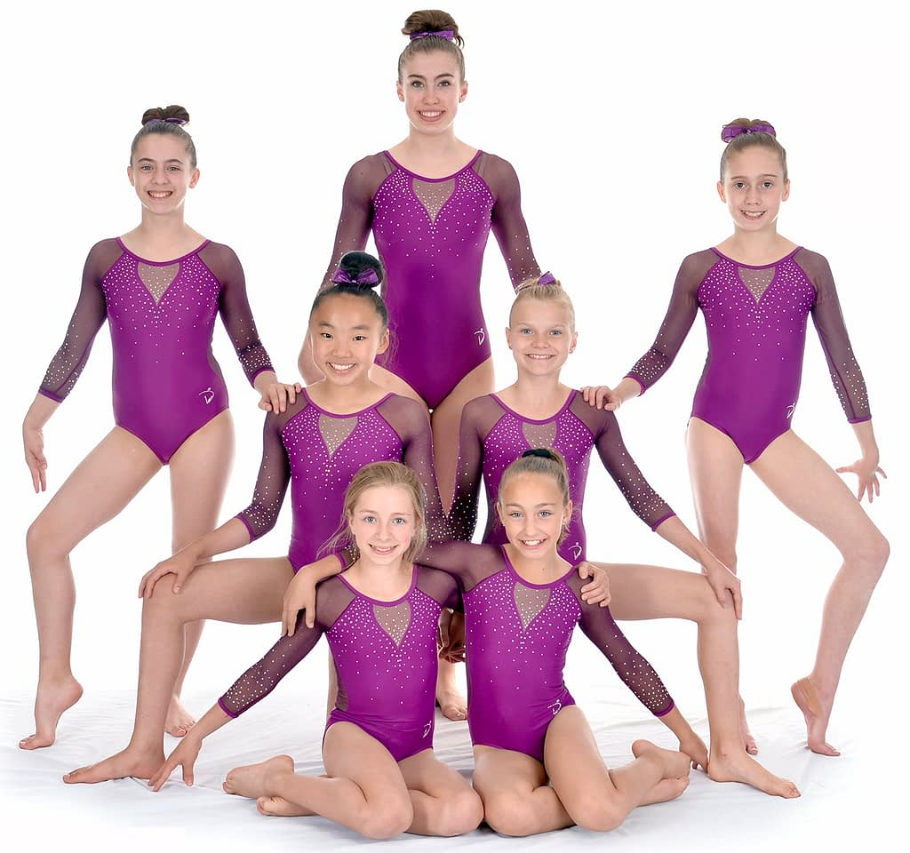 female gymnastics posing for team photo