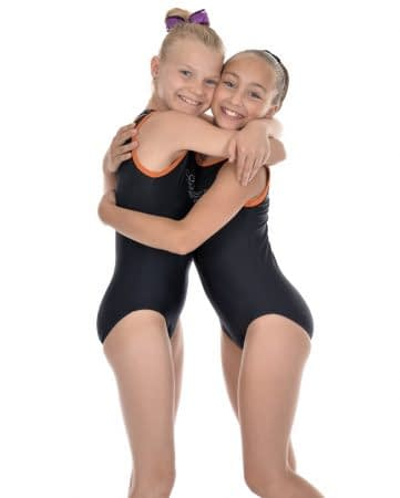 two gymnasts hugging